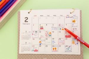 カレンダーや手帳にチェックを