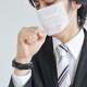 a0002_002656 マスクをして咳をする男性 サラリーマン 風邪 病気 具合が悪い