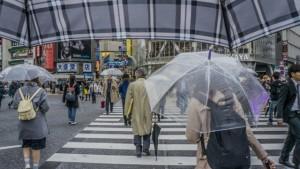 雨の日の町